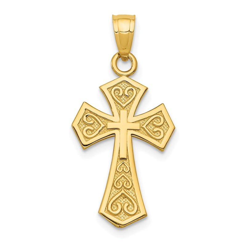 Quality Gold 14k Reversible Passion Cross Pendant
