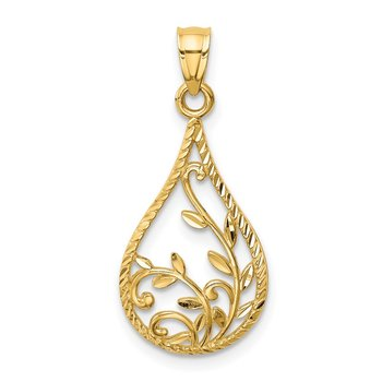 14K Leaf Diamond-cut Dangle Pendant