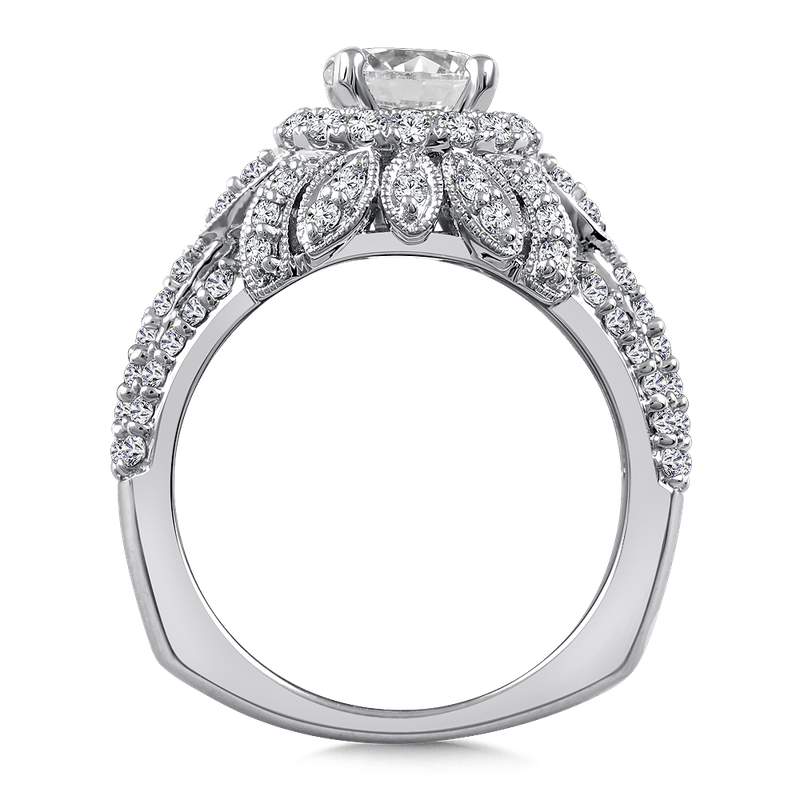 Valina Diamond Halo Engagement Ring Mounting in 14K White Gold (.80 ct. tw.)