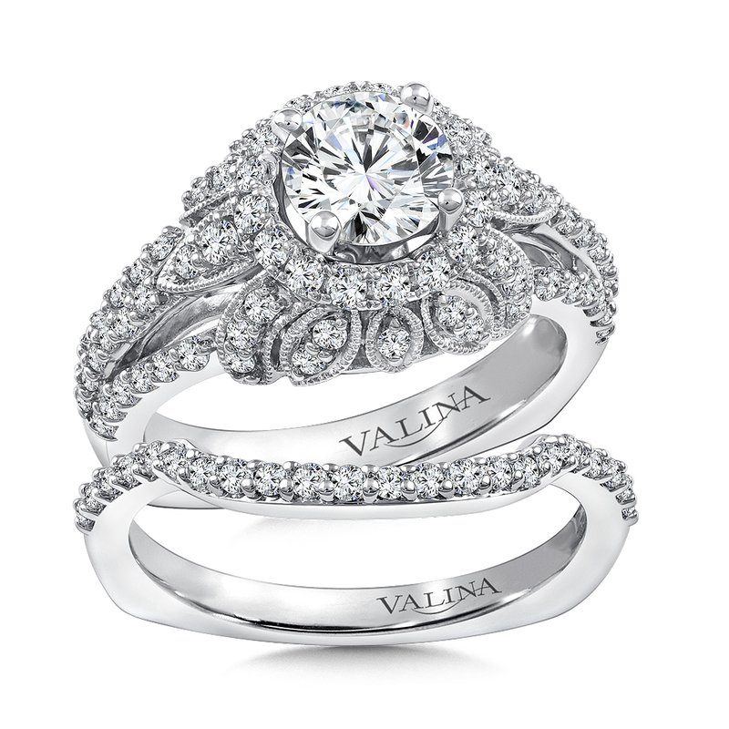 Valina Bridals Diamond Halo Engagement Ring Mounting in 14K White Gold (.80 ct. tw.)