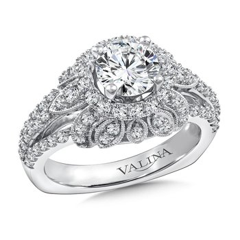 Diamond Halo Engagement Ring Mounting in 14K White Gold (.80 ct. tw.)