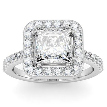 Princess Diamond Halo Engagemant Ring