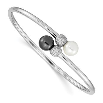 Sterling S Majestik Rh-pl 8-9mm Blk/Wht Imitat Shell Pearl CZ Flex Bangle