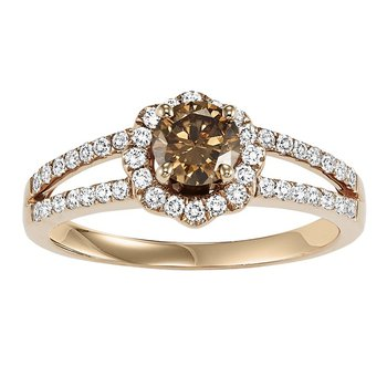 14K Brown & White Diamond Engagement Ring 3/4 ctw Complete