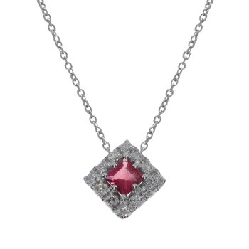 14k White Gold Princess Ruby  Pendant