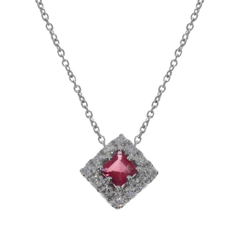 Color Merchants 14k White Gold Princess Ruby  Pendant