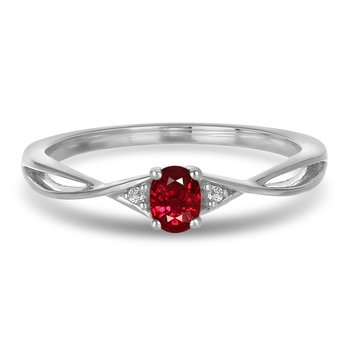 10K WG and diamond and Ruby infinity style birthstone ring