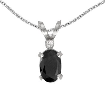 14k White Gold Oval Onyx And Diamond Filagree Pendant