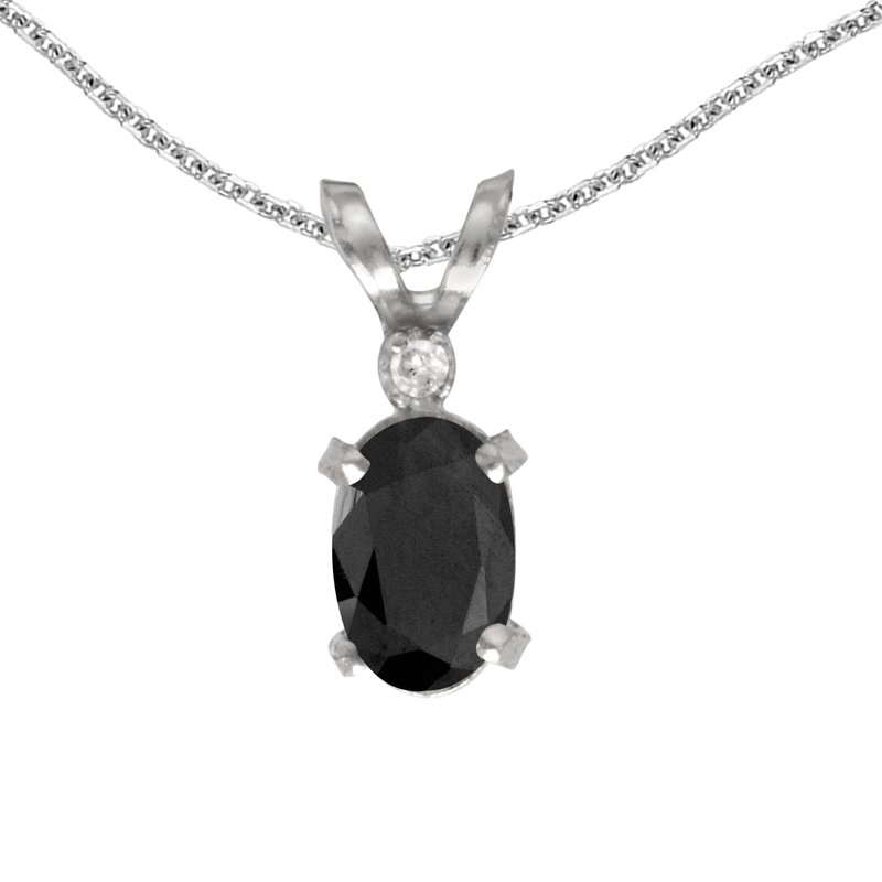 Color Merchants 14k White Gold Oval Onyx And Diamond Filagree Pendant