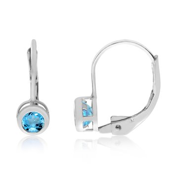 14k White Gold 4mm BlueTopaz Bezel Leverback Earrings