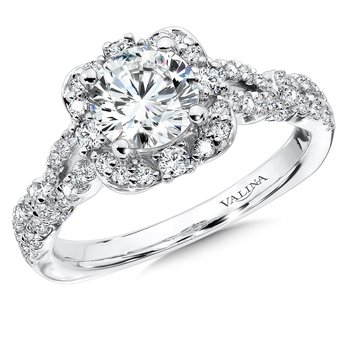 Floral shape halo .48 ct. tw., 1 ct. round center