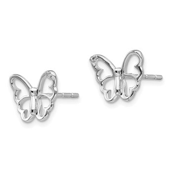 SS White Ice .01 ct Diamond Butterfly Post Earrings