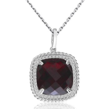14K Cushion Garnet Rope Pendant