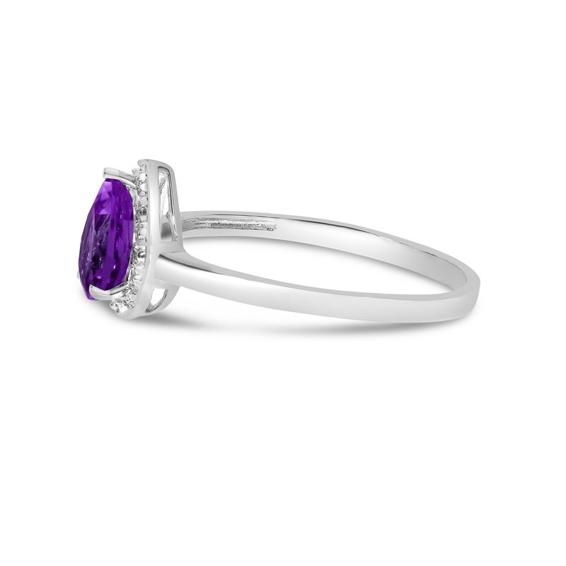 Color Merchants 10k White Gold Pear Amethyst And Diamond Ring