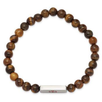 Stainless Steel Polished Medical ID Tiger's Eye Bead Stretch Bracelet