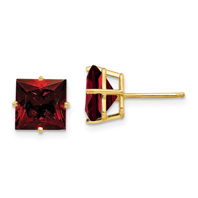 Quality Gold 14k 8mm Princess Cut Garnet Earrings