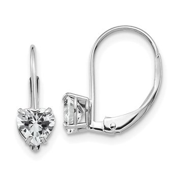 14k White Gold 5mm Heart Cubic Zirconia Leverback Earrings
