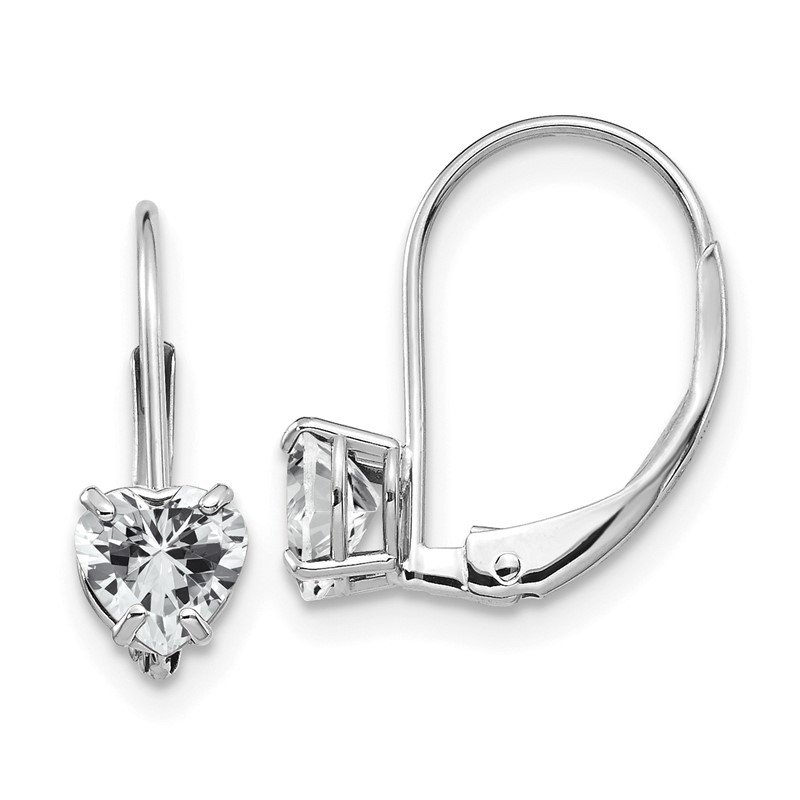 Quality Gold 14k White Gold 5mm Heart Cubic Zirconia Leverback Earrings