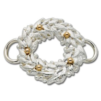Sterling Silver & 14k Yellow Gold Wreath Clasp