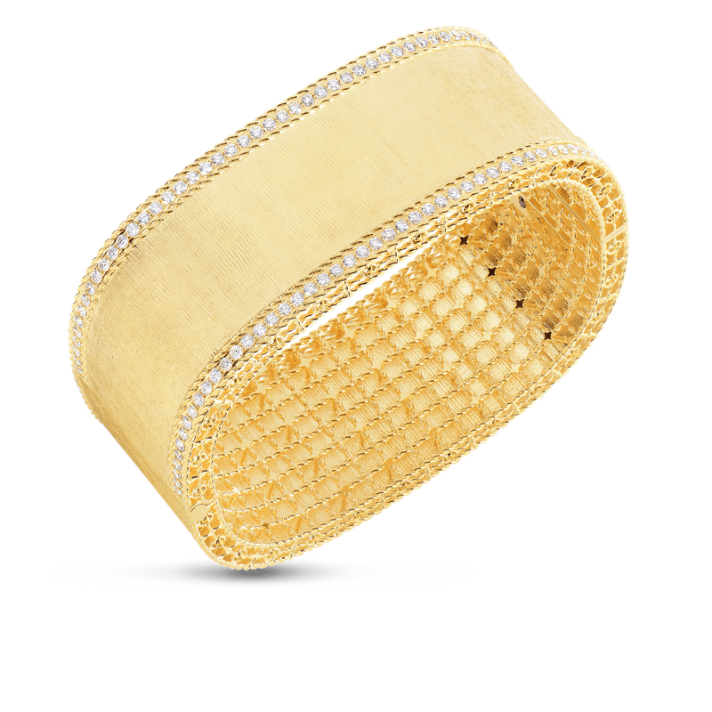 Roberto Coin 18KT GOLD BANGLE WITH DIAMOND EDGES