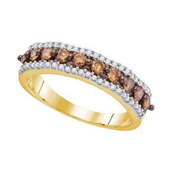 10kt Yellow Gold Womens Round Cognac-brown Color Enhanced Diamond Band Ring 5/8 Cttw