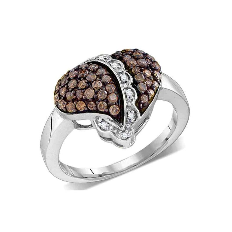 Gold-N-Diamonds 10kt White Gold Womens Round Cognac-brown Color Enhanced Diamond Heart Love Ring 5/8 Cttw