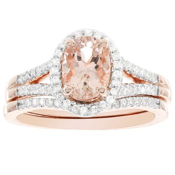 14k Rose Gold Oval Morganite 1/4-carat H-I, I1-I2 Diamond Bridal Set