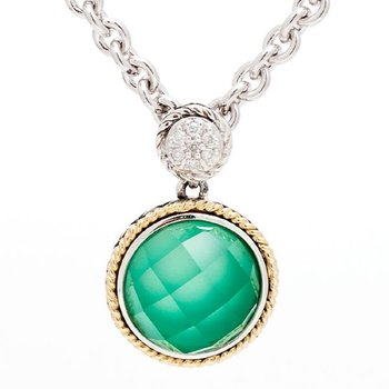 18kt and Sterling Silver Round Doublet Green Agate and Diamond Pendant with Chain