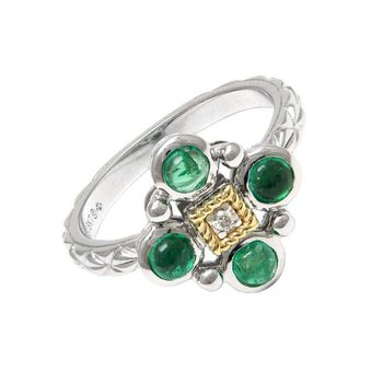 18KT & STERLING SILVER EMERALD CABOCHON AND DIAMOND RING