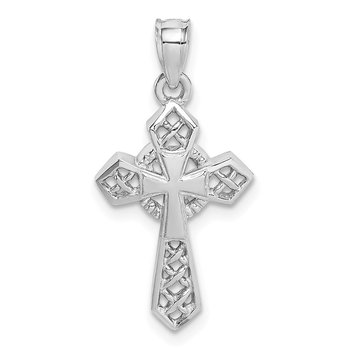 14K White Polished Cross Pendant