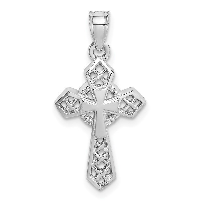 Quality Gold 14K White Polished Cross Pendant