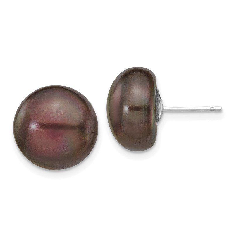 Quality Gold 14k White Gold 12-13mm Black Button FW Cultured Pearl Stud Post Earrings