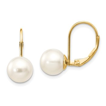 14k 8-9mm White Round Freshwater Cultured Pearl Leverback Earrings