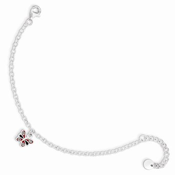 Sterling Silver 5.5in Plus 1.5in ext Enamel Butterfly Bracelet