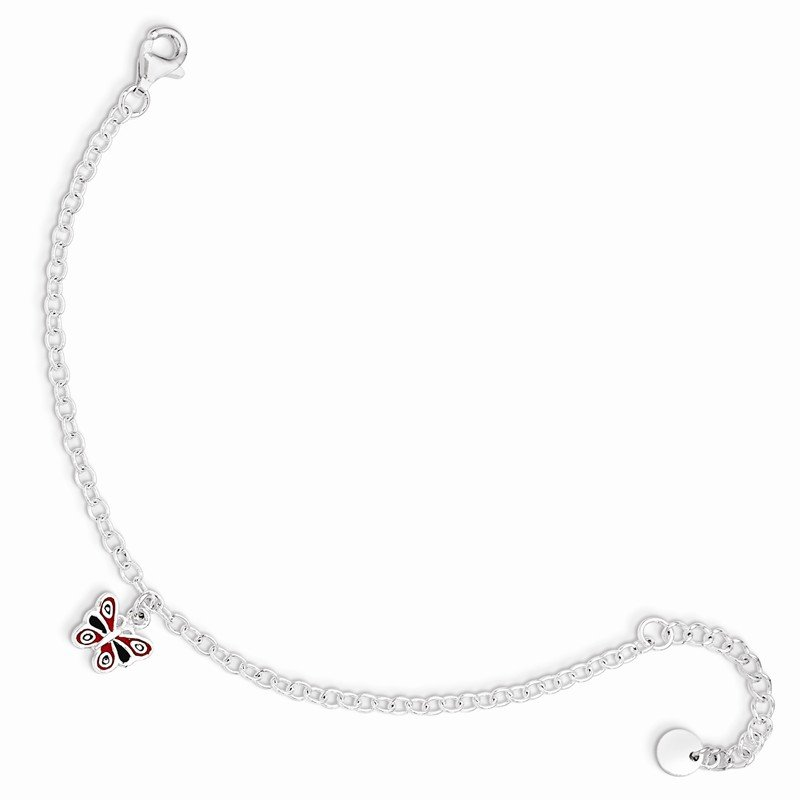 Lester Martin Online Collection Sterling Silver 5.5in Plus 1.5in ext Enamel Butterfly Bracelet