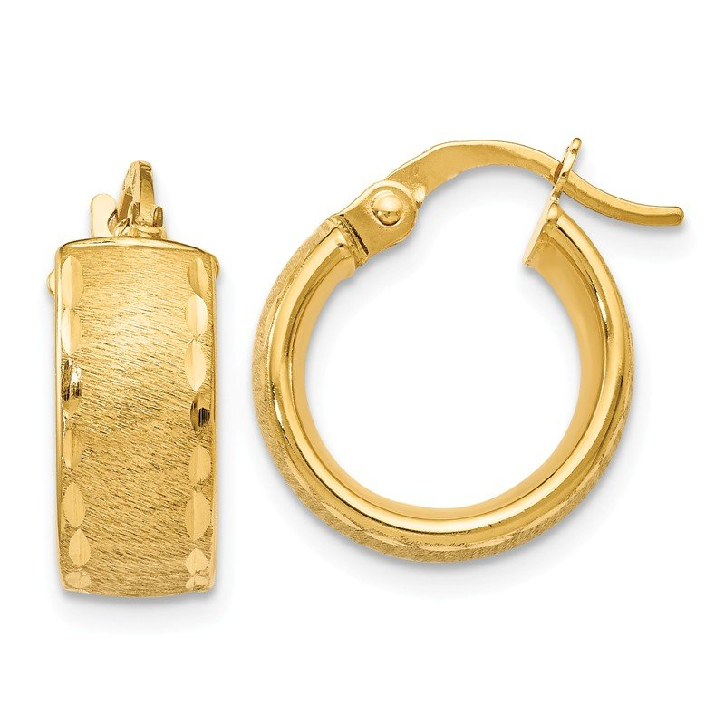 Leslie's Leslie's 14K Gold Polished D/C Brushed Small Hoop Earrings