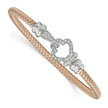 Leslie's Sterling Silver Rose Gold-plated CZ Polished Woven Bangle