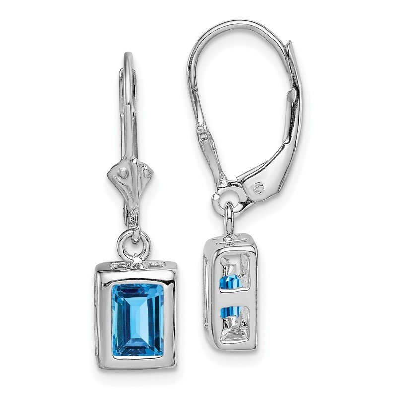 Quality Gold Sterling Silver Rhodium 7x5 Emerald Cut Blue Topaz Leverback Earrings