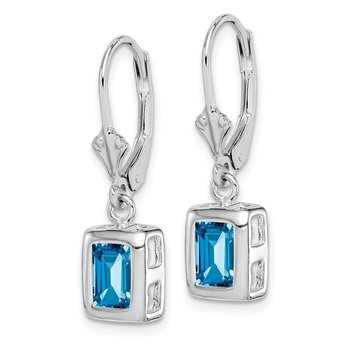 Sterling Silver Rhodium 7x5 Emerald Cut Blue Topaz Leverback Earrings