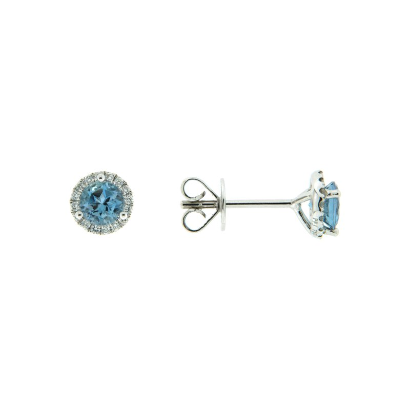 Paragon Fine Jewellery 18k White Gold Earrings with Aqua & Diamond
