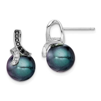 Sterling Silver Black and Clear CZ w/Black Imitation Shell Pearl Earrings