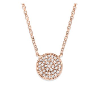 Diamond Pave Disc Necklace in 14K Rose Gold with 41 Diamonds Weighing .13 ct tw