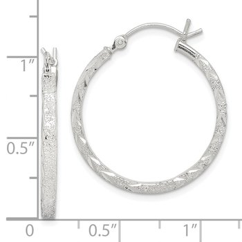 Sterling Silver Diamond-cut 2.5mm Hoop Earrings