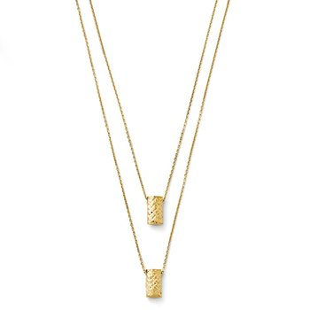 Leslie's 14k Two Layer Diamond-cut Necklace