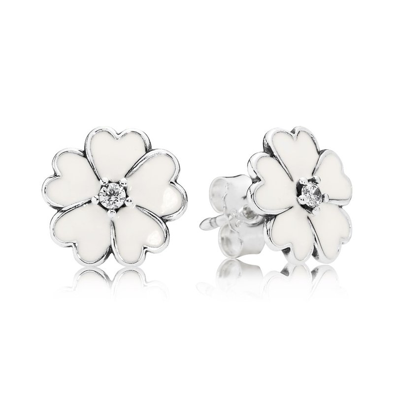 def336cad JMR Jewelers: PANDORA Primrose Stud Earrings, White Enamel