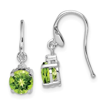 Sterling Silver Rhodium Round Peridot & Diamond Wire Earrings