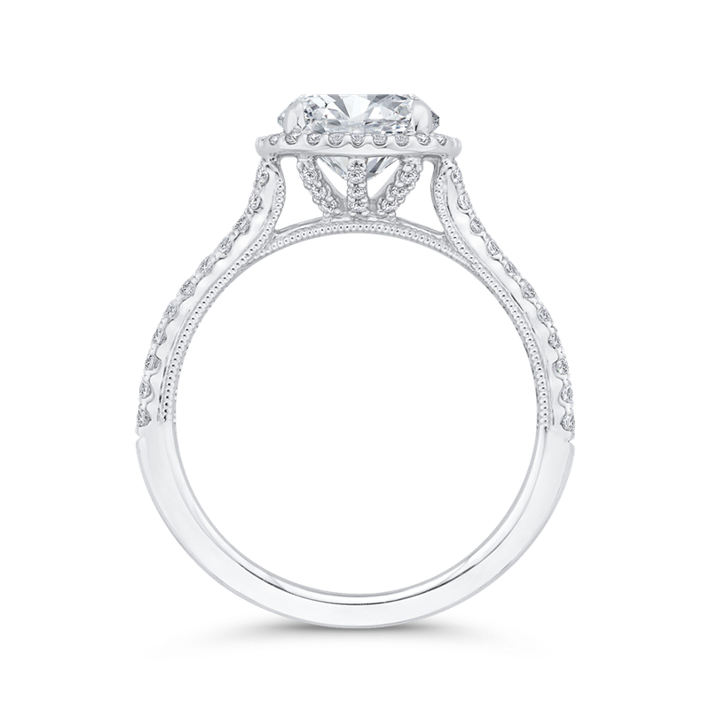Carizza 14K White Gold Diamond Halo Engagement Ring (Semi-Mount)
