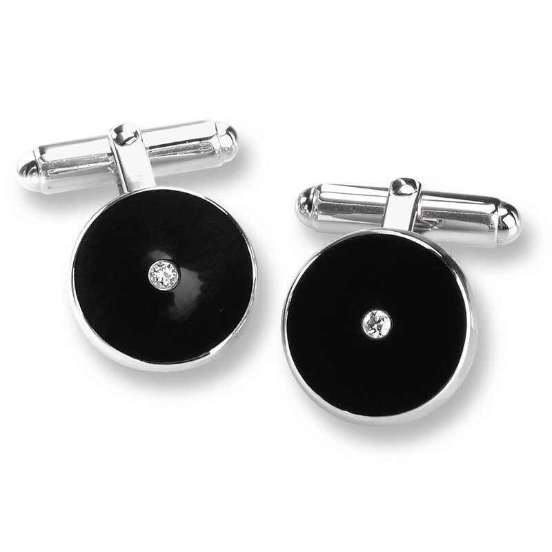 Nicole Barr Designs Black Round T-Bar Cufflinks.Sterling Silver-Diamonds