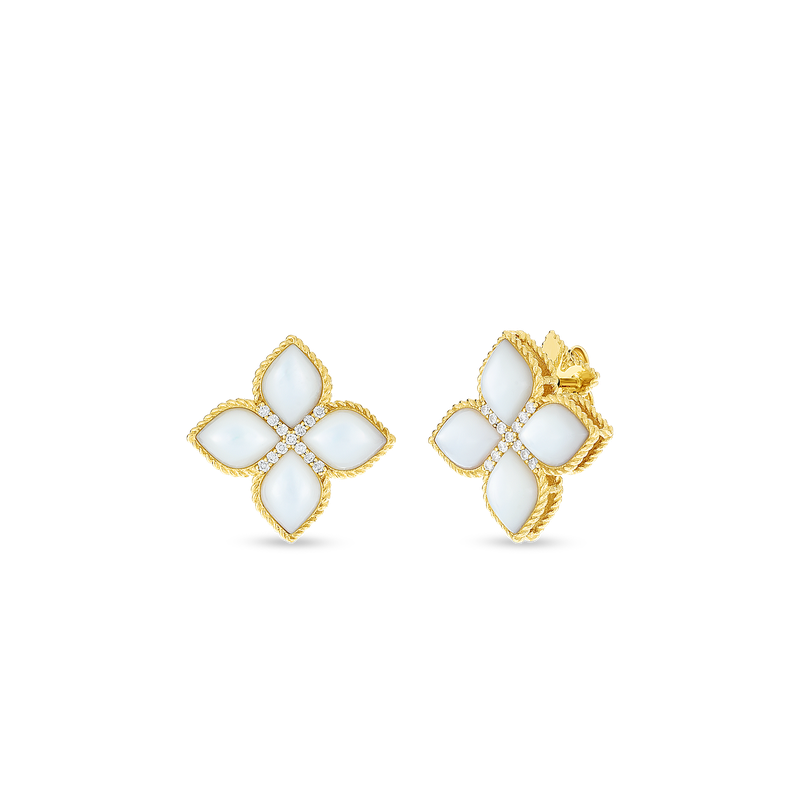 Roberto Coin 18KT LG MOTHER-OF-PEARL & DIAMOND STUD EARRING