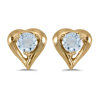 14k Yellow Gold Round Aquamarine Heart Earrings